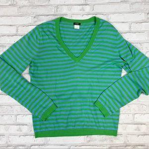 J Crew Striped V-Neck Pullover Sweater Sz M